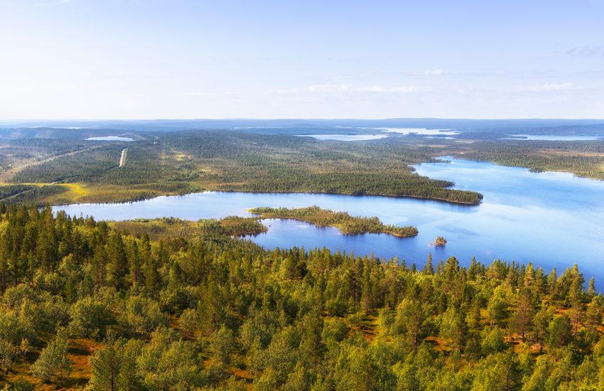 Озеро Каскамаярви, вид с горы Каскама